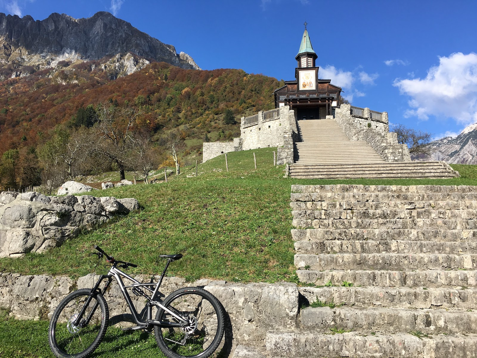 church and mountain bike