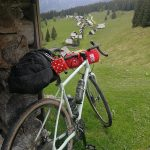 gravel bike on alpine meadow zajamniki
