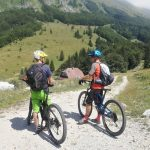 mountain bikers in julian alps