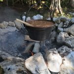 traditional alpine meal on open fire